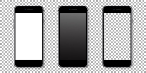 Realistic smartphone display mockup set. Smartphone mockup isolated on transparent background. Realistic vector illustration.