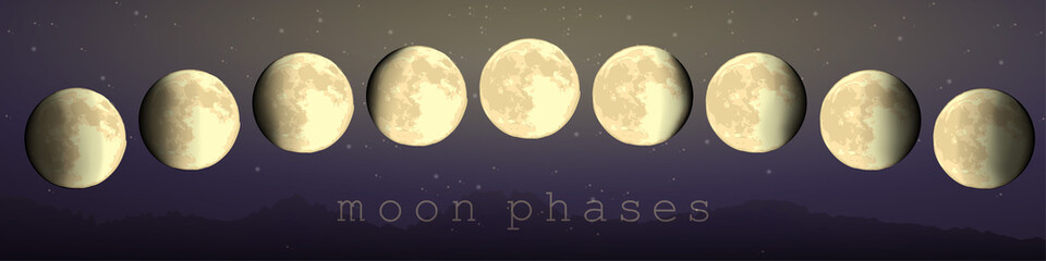moon phases vector set of astronomical hand draw elements newmoon crescent fullmoon. horizontal landscape format for banners and print