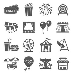 Carnival and festival icon set, event or celebration decoration