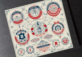 Logos, Badges, Monograms and Ornaments Set