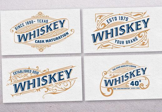 Set of 4 Vintage Liquors Logos or Labels