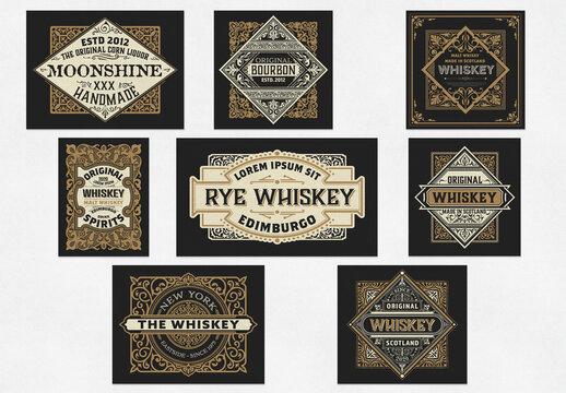 Set of 8 Vintage Liquors Labels