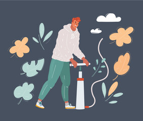 Vector illustration of man pumping with air pumper pressure. Pump it up concept.
