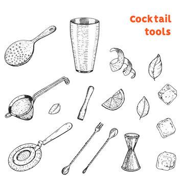 Bartending tools hand drawn sketch. Cocktail tools vector illustration. Engraved collection. Bar design elements.