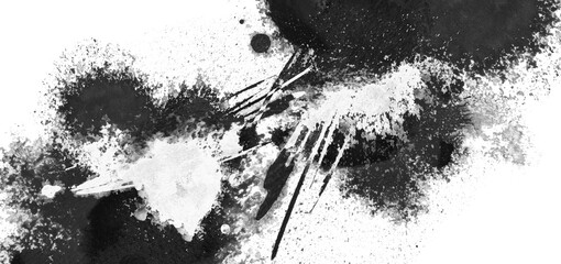 White grunge ink blot. Isolated on black. Abstract smear acrylic and watercolor painted texture paper background.