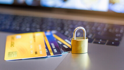 Fototapeta Credit card security concept, credit card with padlock