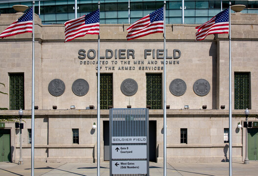 Chicago, IL, USA - September 10, 2008: Solder Field in Chicago. Soldier Field is a large outdoor stadium and home to the Chicago Bears of the NFL.