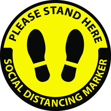 please stand here,social distancing marker, clip art