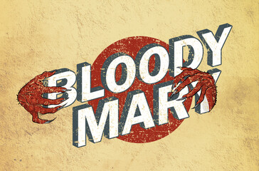 Bloody Mary Cocktail vintage Lettering Logo Retro Style Halloween Horror Version