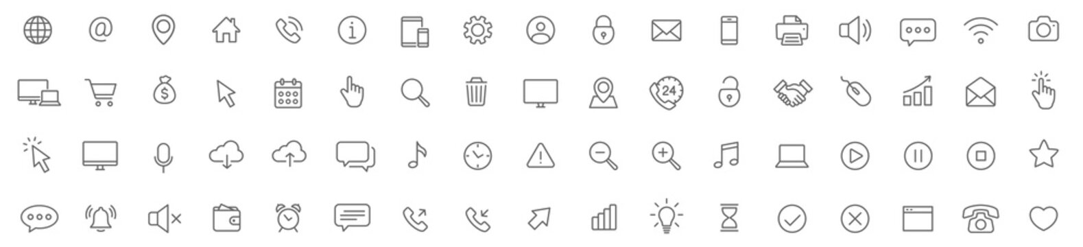 Web line icons set. Web, device, internet, seo thin simple icons. Editable Stroke - stock vector.