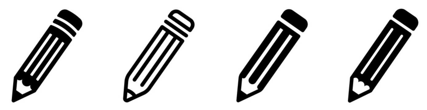Pencil icon set. Edit symbol. Different style pen icons set. Flat and line style on white isolated background - stock vector.