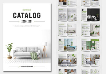 Product Catalog Layout with Green Accents