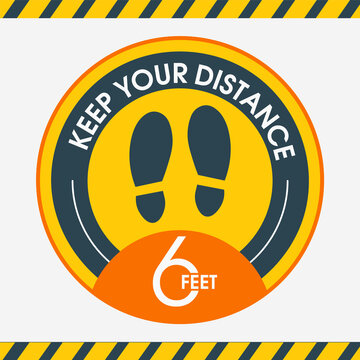 Social distance.Please keep your distance. Stay 6 feet apart. Yellow Information stickers. Round yellow floor marking shoe prints. Social distancing Instruction Icon. Vector Image. For public places