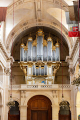 pipe organ inside the St. Louis Cathedral at Les Invalides in Paris