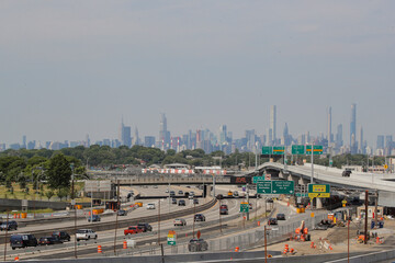 The midtown Manhattan skyline is seen from New York's LaGuardia Airport's newly renovated Terminal B