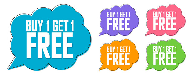 Set Buy 1 Get 1 Free tags, sale banners design template, discount badge collection, speech bubble, vector illustration