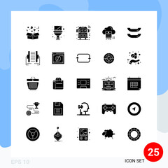 User Interface Pack of 25 Basic Solid Glyphs of boat, cloud, bus, file, photo