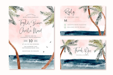 wedding invitation set with beach tropical palm tree watercolor landscape Wall mural