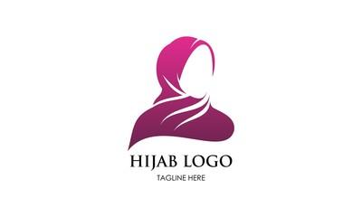 Muslim woman with hijab logo vector illustration design