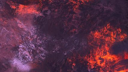 Fototapeten Hochrote Abstract digital painting of geologic mountain illustration background