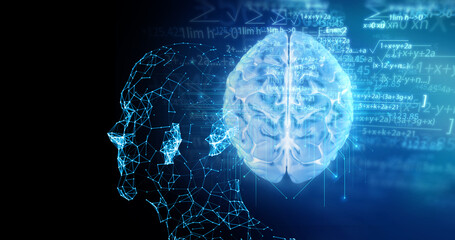 Wall Mural - 3d illustration of human brain  on artificial technology element , on abstract background.
