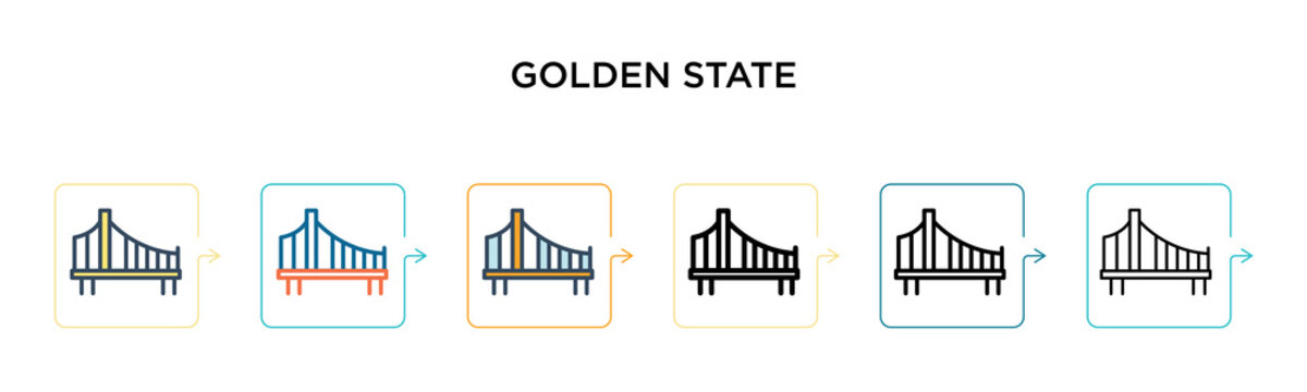 Golden state vector icon in 6 different modern styles. Black, two colored golden state icons designed in filled, outline, line and stroke style. Vector illustration can be used for web, mobile, ui