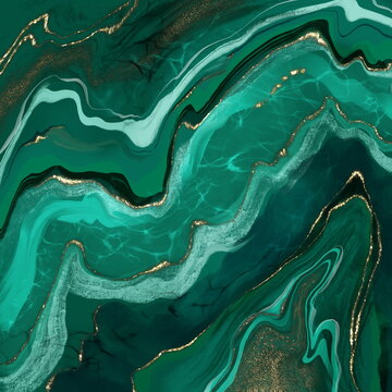 Seamless texture malachite. Abstract green background with gold