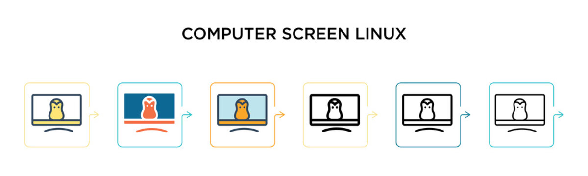 Computer screen linux vector icon in 6 different modern styles. Black, two colored computer screen linux icons designed in filled, outline, line and stroke style. Vector illustration can be used for
