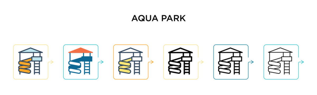 Aqua park vector icon in 6 different modern styles. Black, two colored aqua park icons designed in filled, outline, line and stroke style. Vector illustration can be used for web, mobile, ui