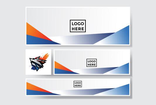 pack of gradient orange blue social media banner background design. modern template illustration vector