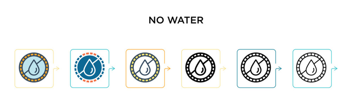 No water vector icon in 6 different modern styles. Black, two colored no water icons designed in filled, outline, line and stroke style. Vector illustration can be used for web, mobile, ui