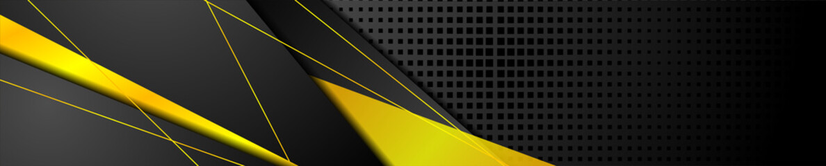 Wall Mural - Orange and black abstract corporate banner design. Vector technology background