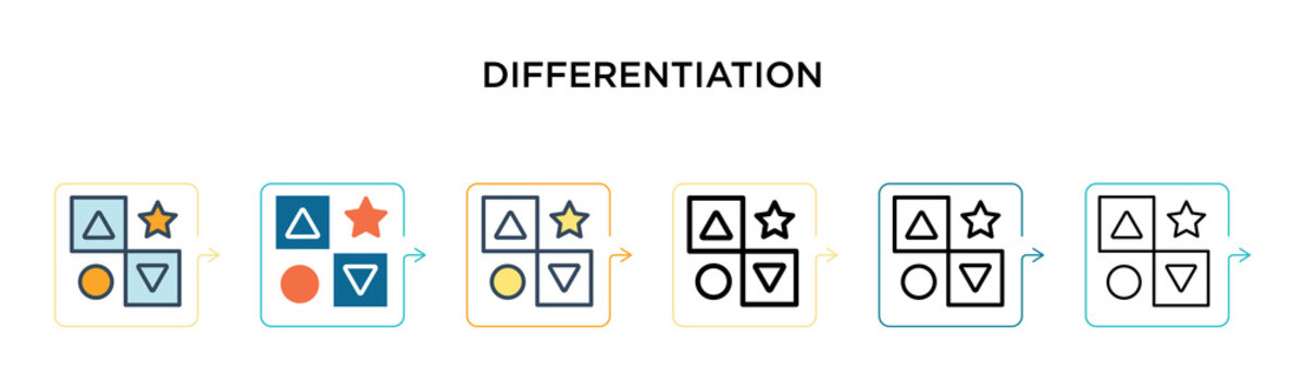 Differentiation vector icon in 6 different modern styles. Black, two colored differentiation icons designed in filled, outline, line and stroke style. Vector illustration can be used for web, mobile,