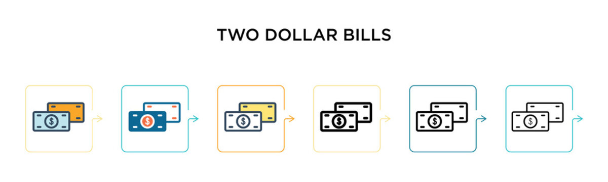 Two dollar bills vector icon in 6 different modern styles. Black, two colored two dollar bills icons designed in filled, outline, line and stroke style. Vector illustration can be used for web,