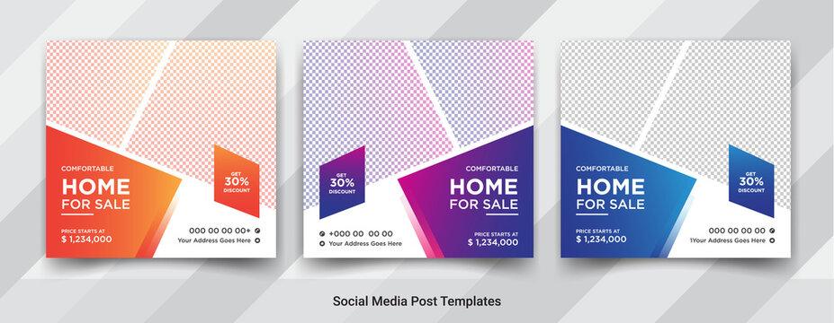 Elegant real estate or home sale social media post templates design