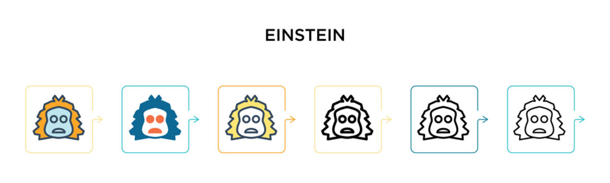 Einstein vector icon in 6 different modern styles. Black, two colored einstein icons designed in filled, outline, line and stroke style. Vector illustration can be used for web, mobile, ui