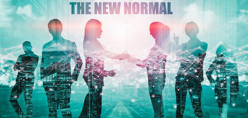 New normal concept effected by COVID 19 coronavirus that changes our lifestyle to new normal presented in style of social media banner or global news when abnormal becomes new normal .