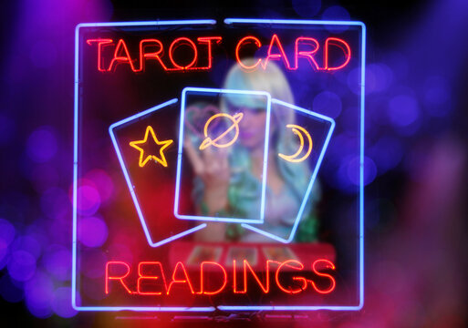 Psychic Card Reader Neon Sign in Rainy Window
