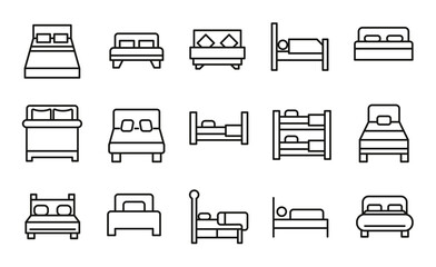 Set of bed related vector line icons. Wall mural