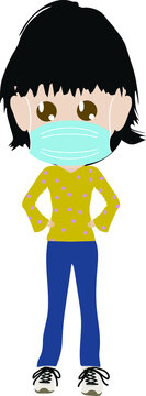 Vector Illustration of Casual young woman wearing face mask