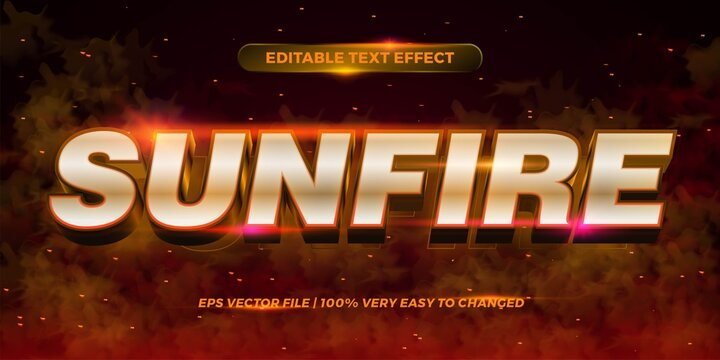 Editable text effect - Sun fire words text style mockup concept smoke background
