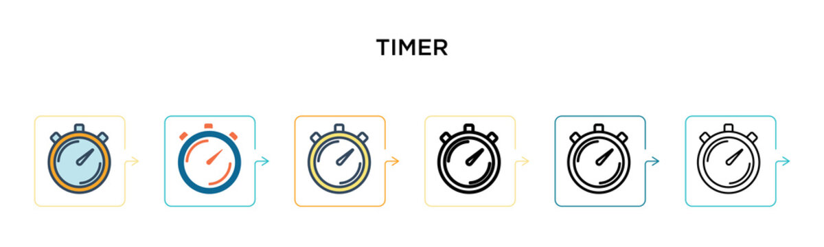Timer vector icon in 6 different modern styles. Black, two colored timer icons designed in filled, outline, line and stroke style. Vector illustration can be used for web, mobile, ui