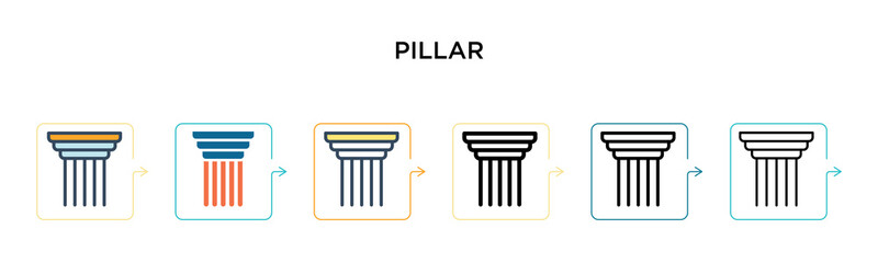 Pillar vector icon in 6 different modern styles. Black, two colored pillar icons designed in filled, outline, line and stroke style. Vector illustration can be used for web, mobile, ui Fotomurales