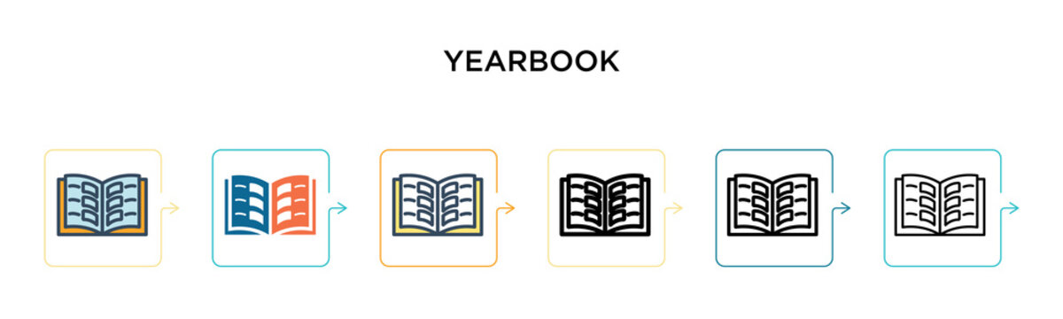 Yearbook vector icon in 6 different modern styles. Black, two colored yearbook icons designed in filled, outline, line and stroke style. Vector illustration can be used for web, mobile, ui