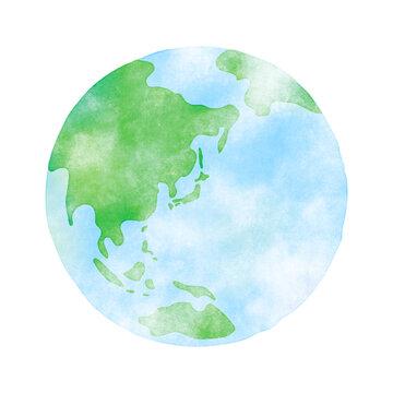 手描き風の地球 水彩テクスチャ