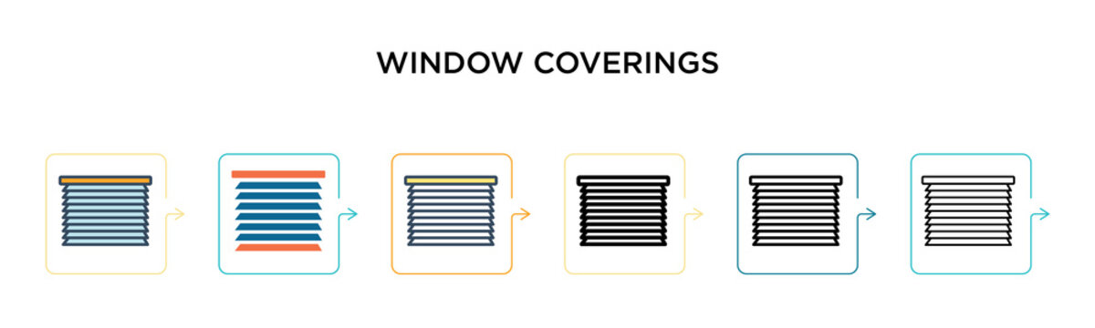 Window coverings vector icon in 6 different modern styles. Black, two colored window coverings icons designed in filled, outline, line and stroke style. Vector illustration can be used for web,