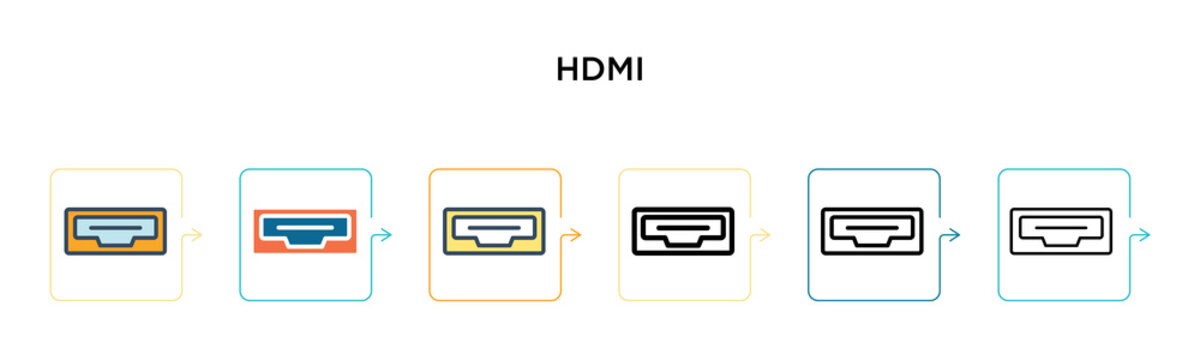 Hdmi vector icon in 6 different modern styles. Black, two colored hdmi icons designed in filled, outline, line and stroke style. Vector illustration can be used for web, mobile, ui