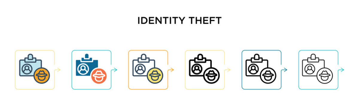 Identity theft vector icon in 6 different modern styles. Black, two colored identity theft icons designed in filled, outline, line and stroke style. Vector illustration can be used for web, mobile, ui