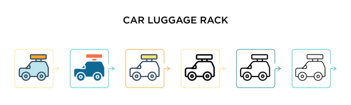 Car luggage rack vector icon in 6 different modern styles. Black, two colored car luggage rack icons designed in filled, outline, line and stroke style. Vector illustration can be used for web,