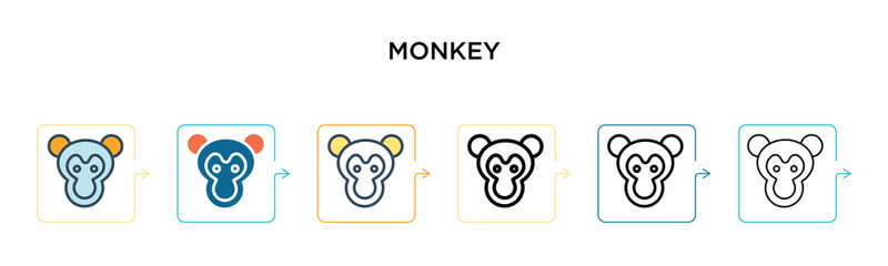 Monkey vector icon in 6 different modern styles. Black, two colored monkey icons designed in filled, outline, line and stroke style. Vector illustration can be used for web, mobile, ui